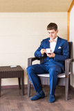Young Business Man Drinking a Cup of Coffee or Tea Stock Images