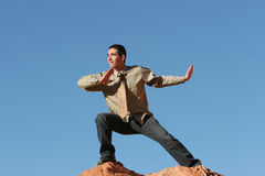 Young business man exercising outdoors Stock Photography