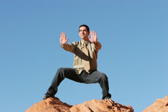 Young business man exercising outdoors Royalty Free Stock Photography
