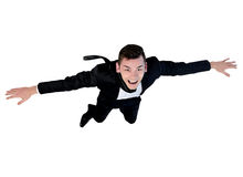 Young business man flying. Isolated young business man flying Stock Images