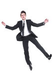 Young business man flying isolated on white background Royalty Free Stock Photography