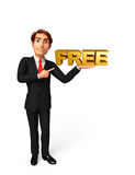 Young Business Man with free text sign Stock Images