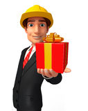 Young Business Man with gift box Royalty Free Stock Image