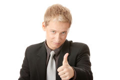 Young business man going thumb up Royalty Free Stock Images