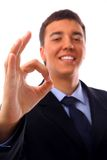 Young business man going thumb up Stock Photography