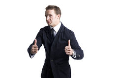 Young business man going thumb up Stock Image