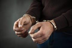 Man hand handcuffs royalty free stock photos