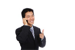 Young Business Man happy Speaking mobile phone Stock Image