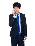 Young Business Man happy Speaking mobile phone Stock Photo