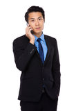Young Business Man happy Speaking mobile phone Stock Photography