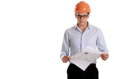 Young business man with helmet, isolated on white Stock Photos