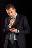 Young business man and Hi-tech Stock Image