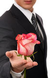 Young business man hold rose Royalty Free Stock Photography