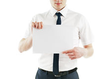 Young business man holding blank white card ready Royalty Free Stock Photo