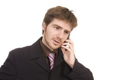 Young business man holding a cellphone Stock Photo