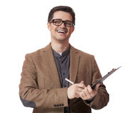 Young business man holding a clip board over white background.  Royalty Free Stock Photo