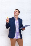 Young Business Man Holding Folder Pencil, Businessman Point To Copy Space Stock Photos