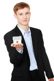 Young business man holding house model Royalty Free Stock Images