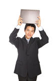 Young business man holding notebook Stock Photo