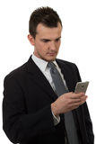 Young business man holding phone Royalty Free Stock Photo