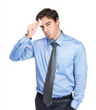 Young business man isolated against white Stock Photos