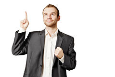 Young business man isolated on white. Portrait of a young business man isolated against white background Stock Photos