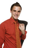 Young business man with jacket over shoulder Royalty Free Stock Images