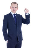 Young business man with key in hand  isolated on white Royalty Free Stock Image