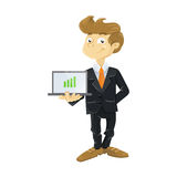 Young business man with laptop. Illustration of a cute young business man with laptop Royalty Free Stock Photo