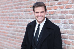 Young business man laughs at you Royalty Free Stock Images