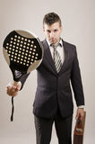 Young Business man like play paddle tennis Royalty Free Stock Photos