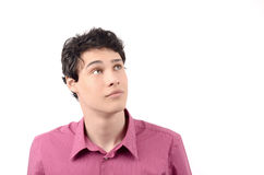 Young business man looking up. Royalty Free Stock Photography