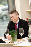 Young business man during lunch Royalty Free Stock Image