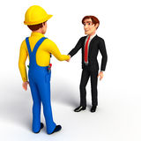Young Business Man and mechanic with shake hand Royalty Free Stock Photography