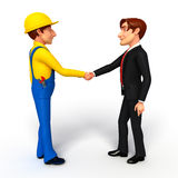 Young Business Man and mechanic with shake hand Stock Photo