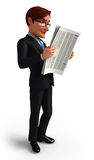 Young Business man with news paper Royalty Free Stock Image