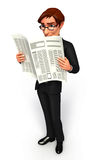Young Business man with news paper Stock Photo