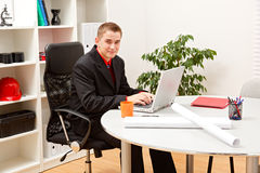 Young business man in office Royalty Free Stock Image