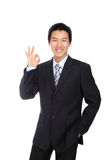 Young Business Man with OK hand gesture Royalty Free Stock Photography
