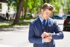 Business man outdoors work occupation lifestyle. Young business man outdoors work occupation lifestyle royalty free stock image