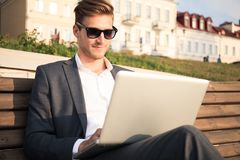 Young business man outdoors work occupation lifestyle. Young business man outdoors work occupation lifestyle Stock Photos