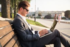 Young business man outdoors work occupation lifestyle. Young business man outdoors work occupation lifestyle Royalty Free Stock Photos