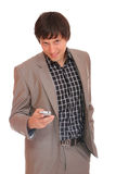 Young business man over the cellphone Stock Images
