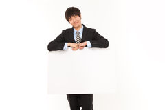 Young business man with panel. Stock Photography