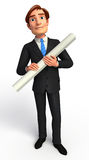 Young Business man with papers Stock Photo
