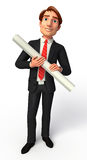Young Business man with papers Stock Images