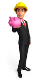 Young Business Man with piggy bank Stock Photography