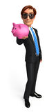 Young Business Man with piggy bank Royalty Free Stock Photos