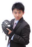 Young Business Man pitching baseball Royalty Free Stock Photography