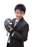 Young Business Man pitching baseball Royalty Free Stock Photos